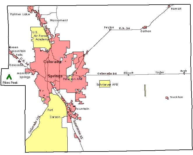 Maps El Paso County CO - Map of colorado cities and towns